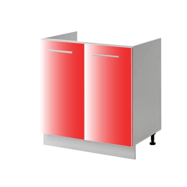 placard évier rouge 80 cm bas cuisines sur mesure