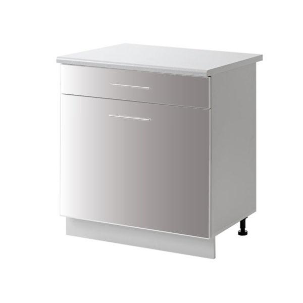 placard 1 porte tiroir gris 60 cm bas cuisines sur mesure