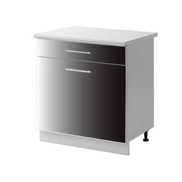 placard 1 porte tiroir noir 60 cm bas cuisines sur mesure