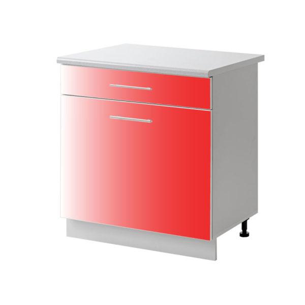 placard 1 porte tiroir rouge 60 cm bas cuisines sur mesure