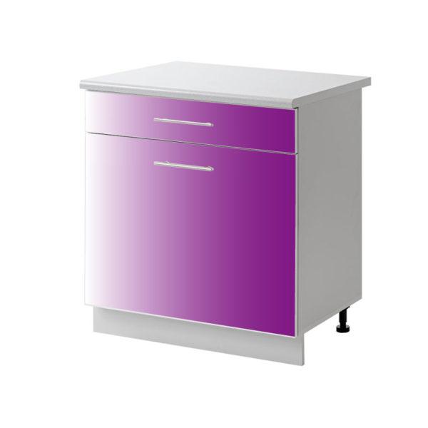 placard 1 porte tiroir violet 60 cm bas cuisines sur mesure