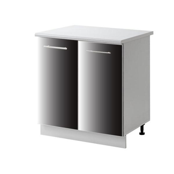 placard 2 porte noir 80 cm bas cuisines sur mesure