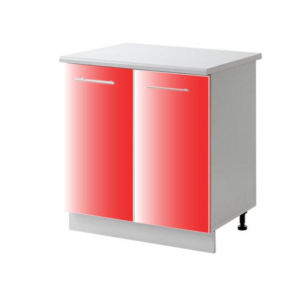 placard 2 porte rouge 80 cm bas cuisines sur mesure