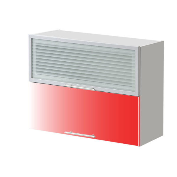 placard double vitre rouge 80 cm cuisines sur mesure